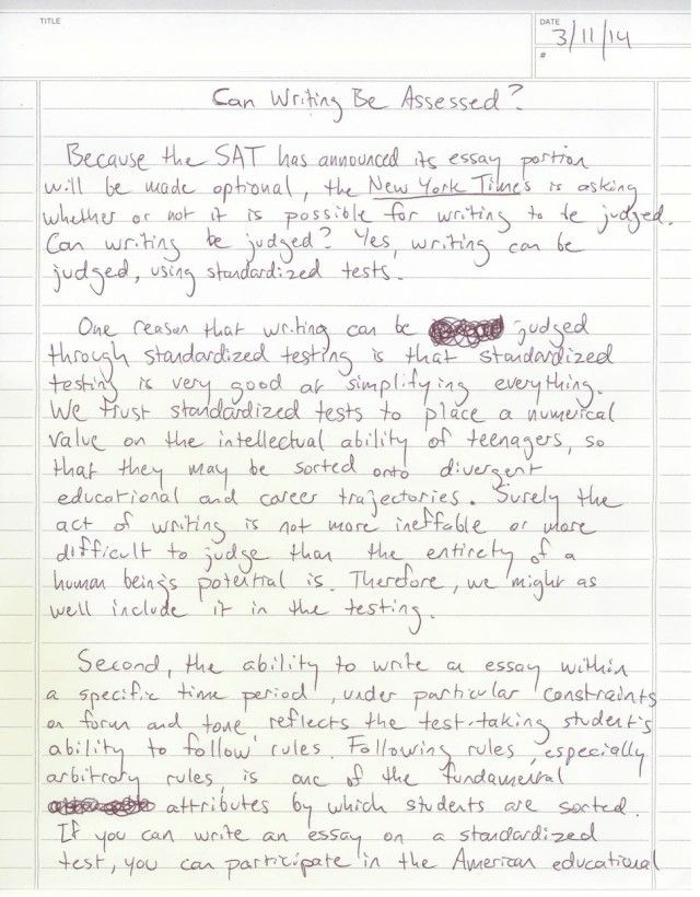 Can Writing Be Assessed? A Five-Paragraph Essay click to read