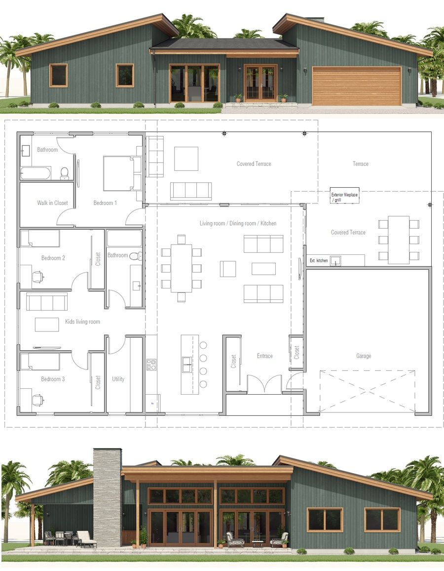 Edit Move Garage And Make 2 Bedroom Split Plan Single Story Home Plan With Three Bedrooms And Two Living Sims House Plans Model House Plan Dream House Plans