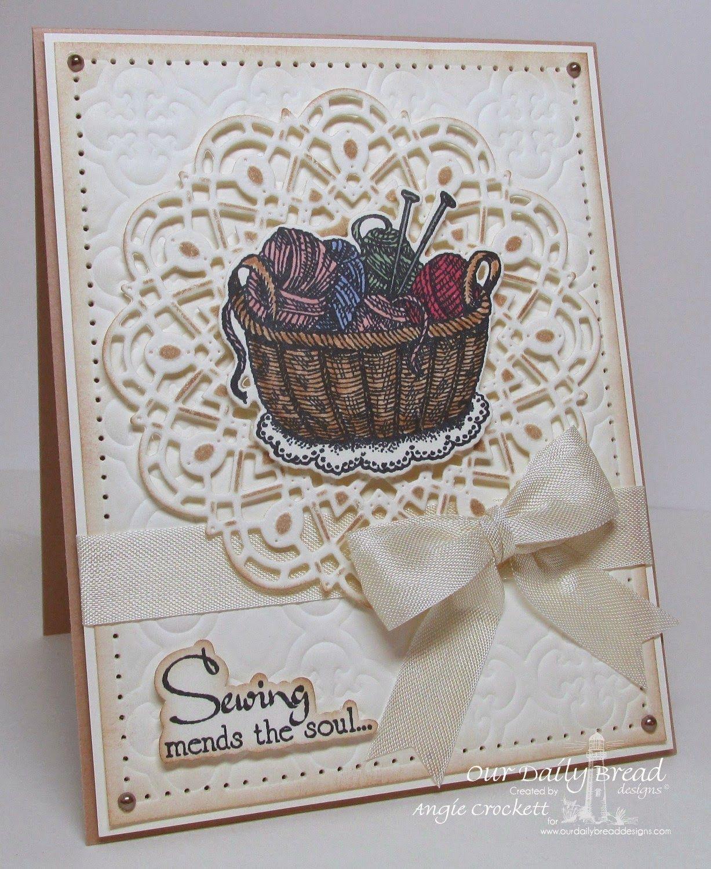 ODBD Custom Doily Dies, ODBD Custom Quatrefoil Pattern Design, Hand Knit, ODBD Custom Knitting Basket and Yarn Dies, Sewing, Card Designer Angie Crockett