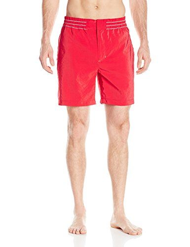 Robert Graham Mens Starboard Woven Swim Trunk Red 36 * Want additional info? Click on the image.