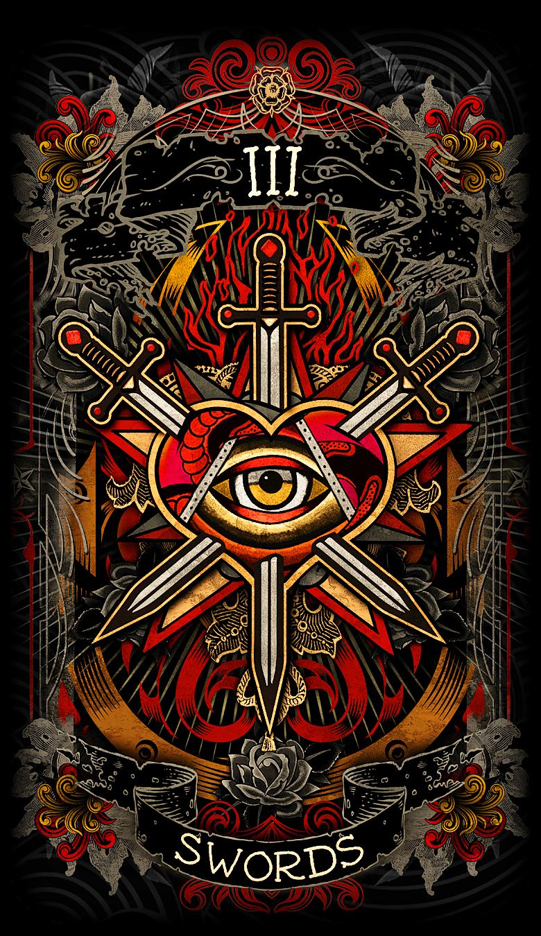 Major Arcana Tarot Card Meaning According To: 3 Of Swords - Psychobilly Tarot, By Wenzwilliam