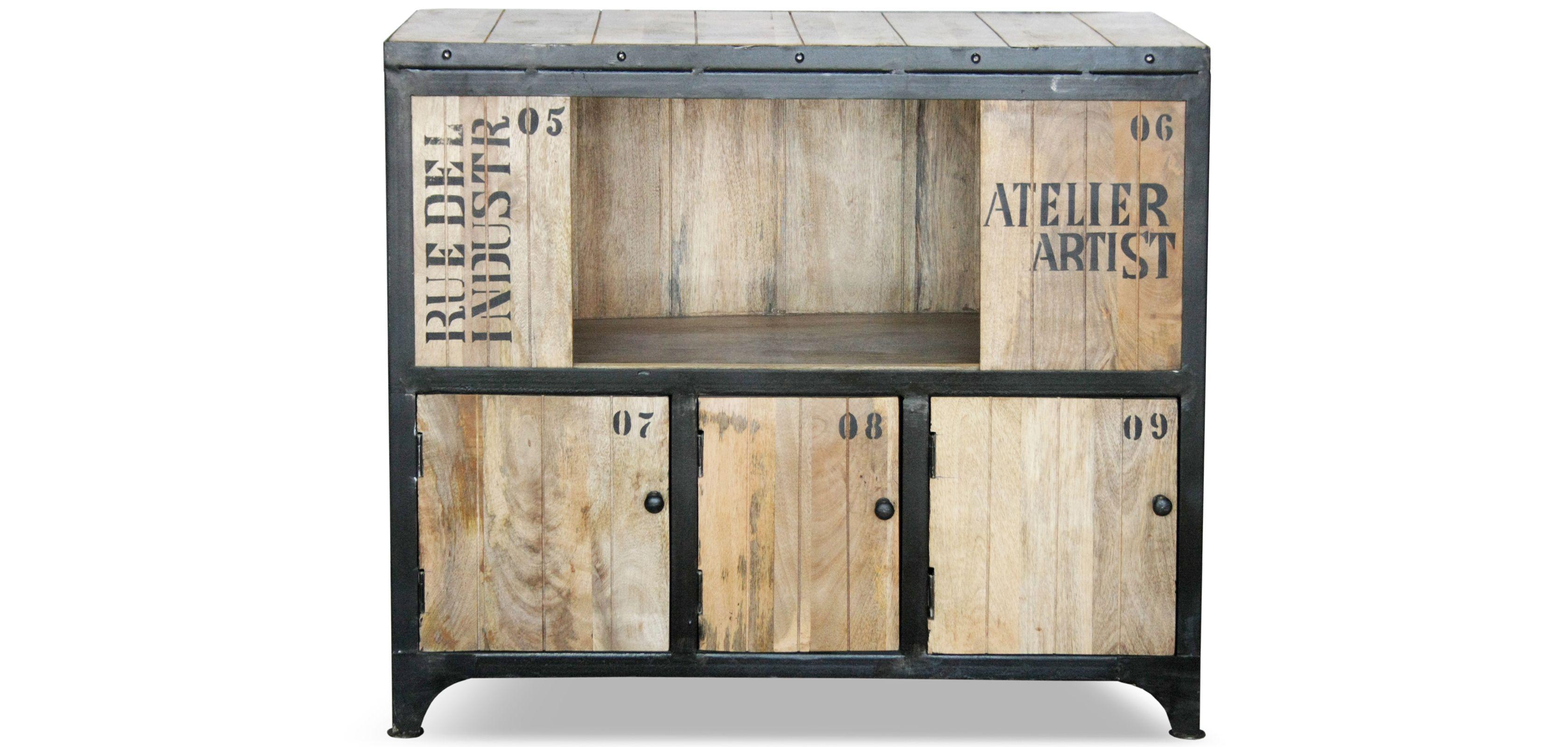 Buffet Vintage Vieilli Artist Acier Industriel Et Bois  # Meuble Industriel Pas Cher