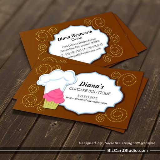 Whimsical Cupcake & Swirls Bakery Business Cards | Bakery Business ...