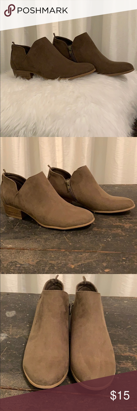 Olive Green Old Navy Booties Only worn a couple of times. In great condition and perfect for fall with a pair of skinny jeans. Old Navy Shoes Ankle Boots & Booties #skinnyjeansandankleboots