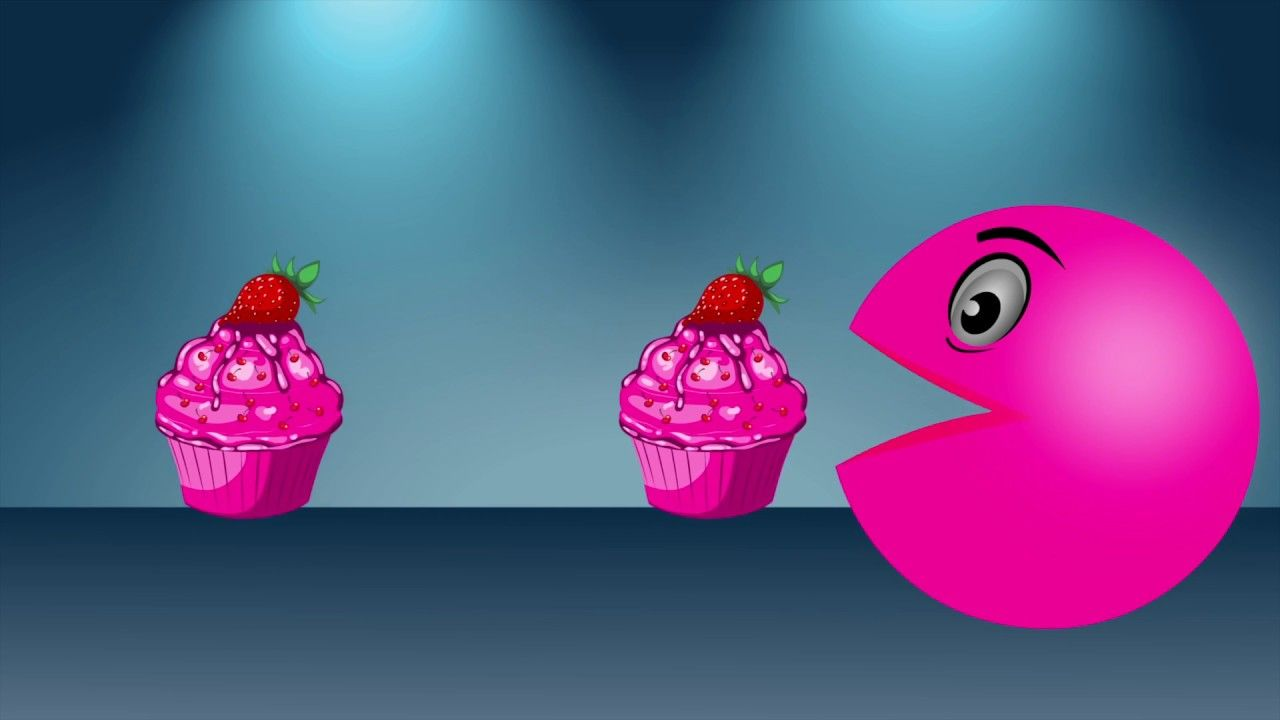Learn Colors with pacman eating cupcake.Best fun Learning Videos for Kid...
