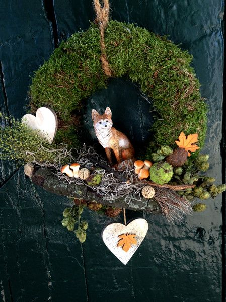 Photo of Wreaths – autumnal door wreath made of natural decoration – a designer piece by …