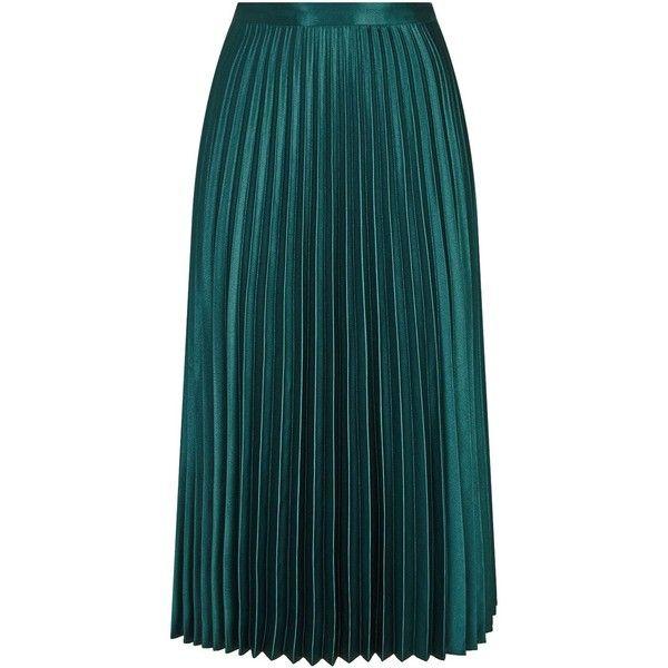 Satin pleated midi skirt blue