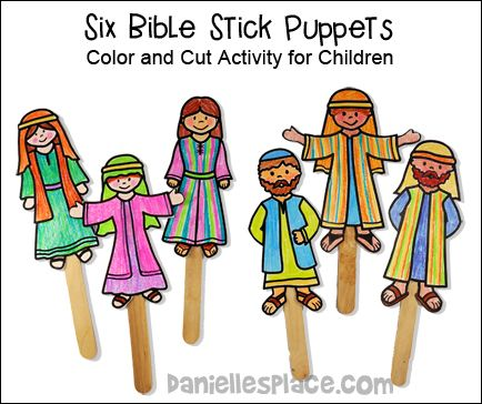 Color Your Own Bible Stick Puppets From Www Daniellesplace