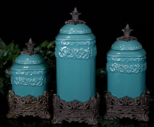 tuscan style kitchen canisters tuscan design medium turquoise canister s 3 new 22441