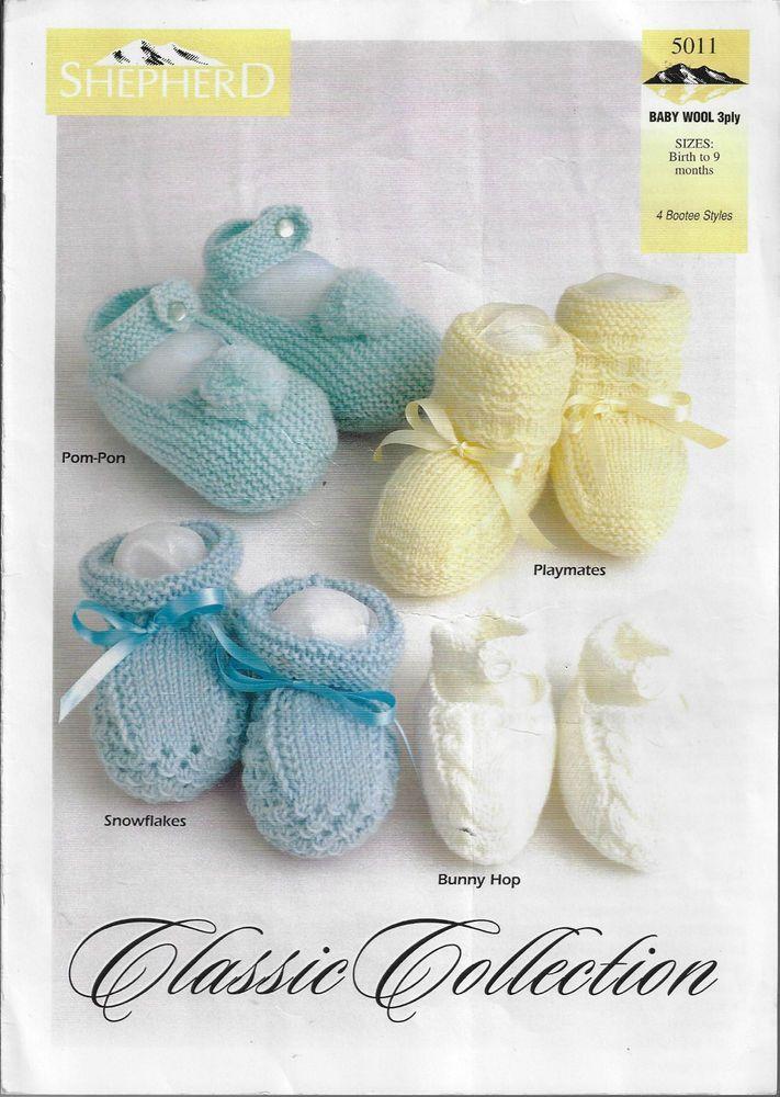 d0772766d Baby Booties 4 styles Shepherd   5011 knitting pattern 3 ply yarn ...