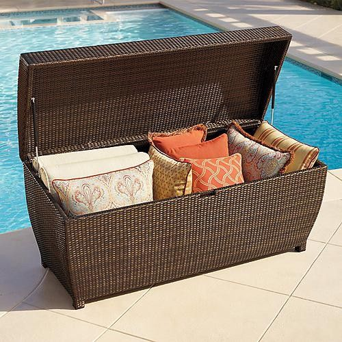 All-weather Wicker Outdoor Storage Chest - a curved top that allows moisture to run & All-weather Wicker Outdoor Storage Chest - a curved top that allows ...