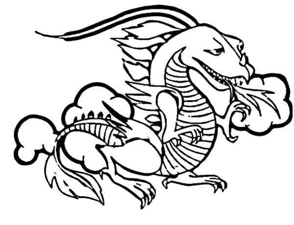 Fire Breathing Chinese Dragon Coloring Pages Netart