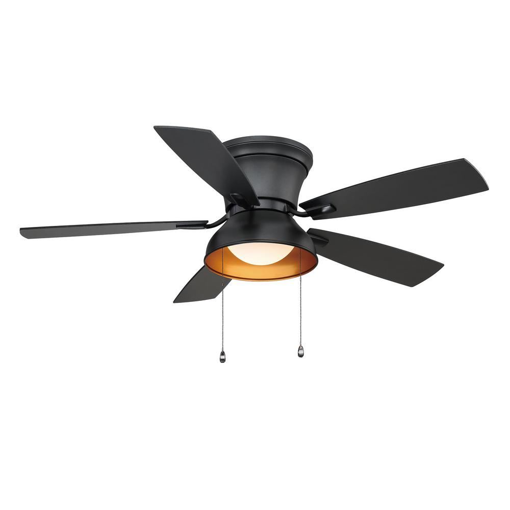 Home Decorators Collection Banneret 52 In Led Natural Iron Ceiling Fan With Light Yg730 Ni The Home Depot Fan Light Black Ceiling Fan Ceiling Fan