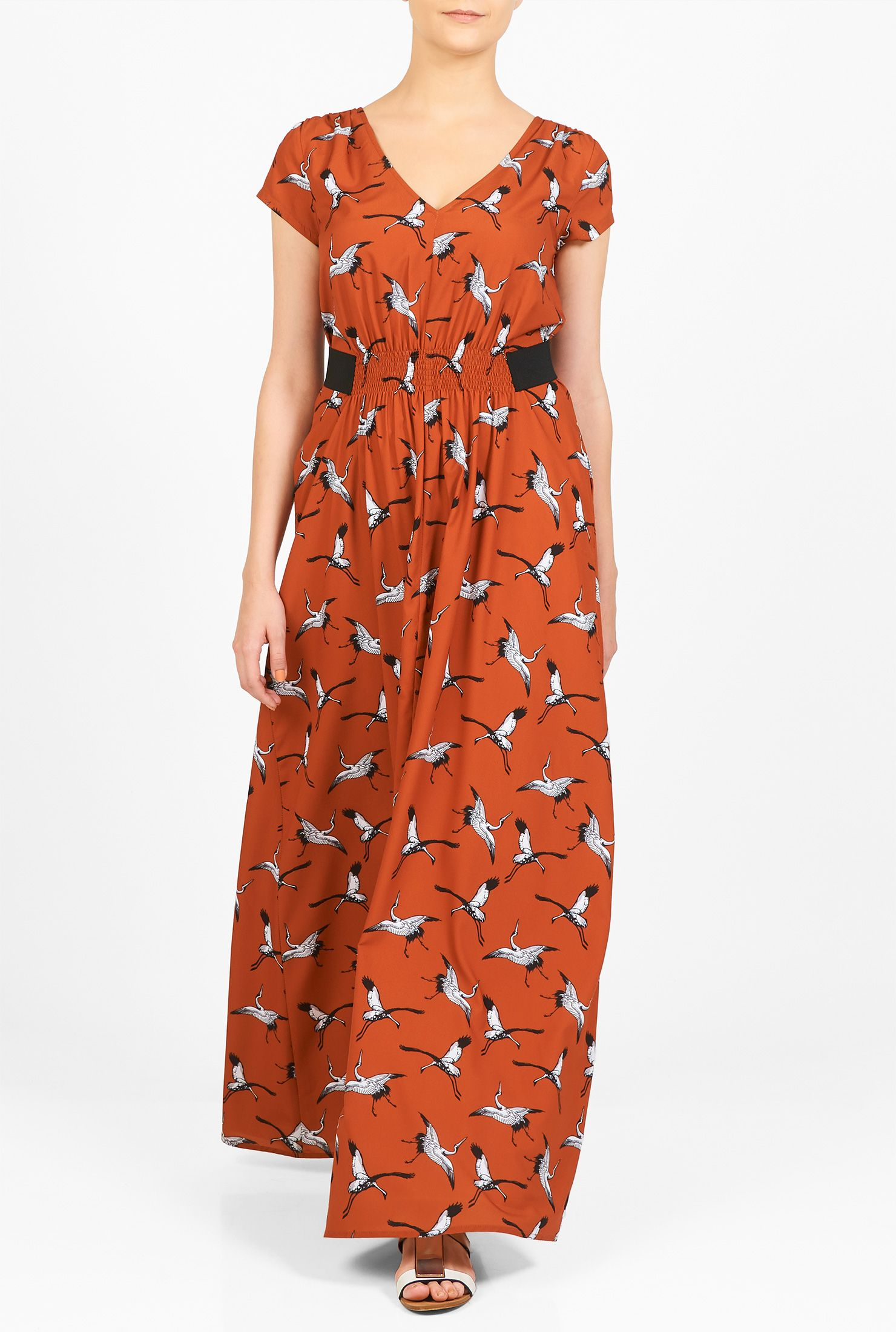 Our bird print crepe maxi dress is designed for casual wear but