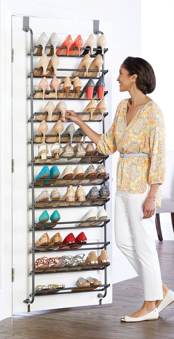 Make the most of underutilized space behind the door for your shoe collection. Our 36-Pair Overdoor Shoe Rack holds both heels and flats. Can you say,