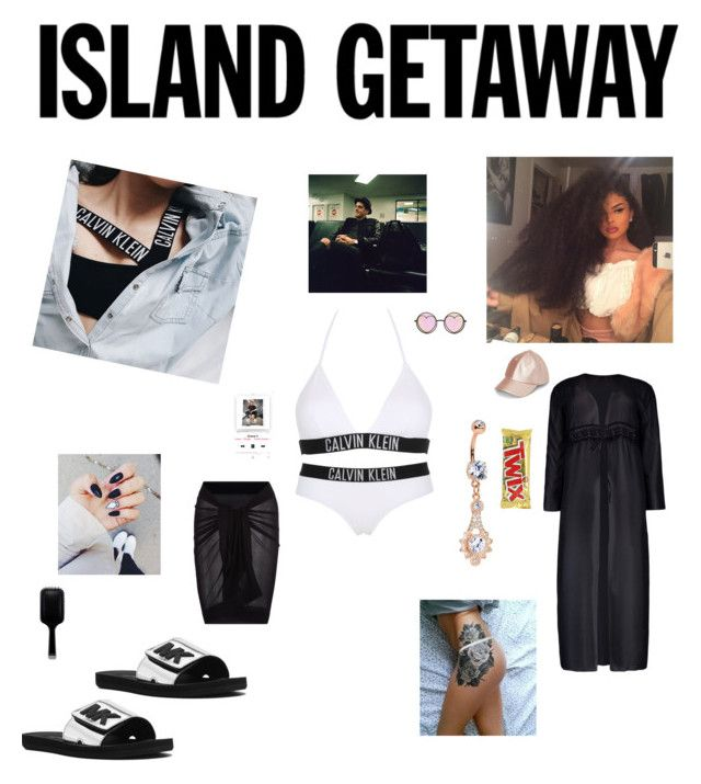 """""""Hanging out with G at the beach"""" by groovegoddess18 ❤ liked on Polyvore featuring Calvin Klein, MICHAEL Michael Kors, Boohoo, Simons, Betsey Johnson, GHD and beachvibes"""