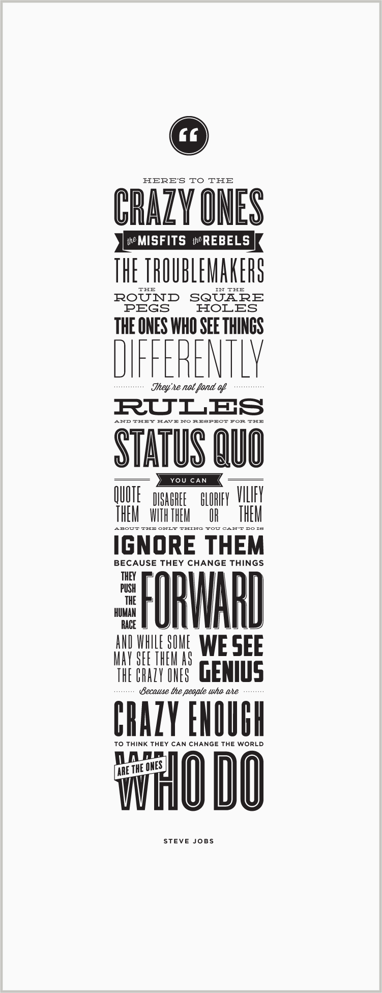 Steve Jobs Apple Quote Poster 11 x 17