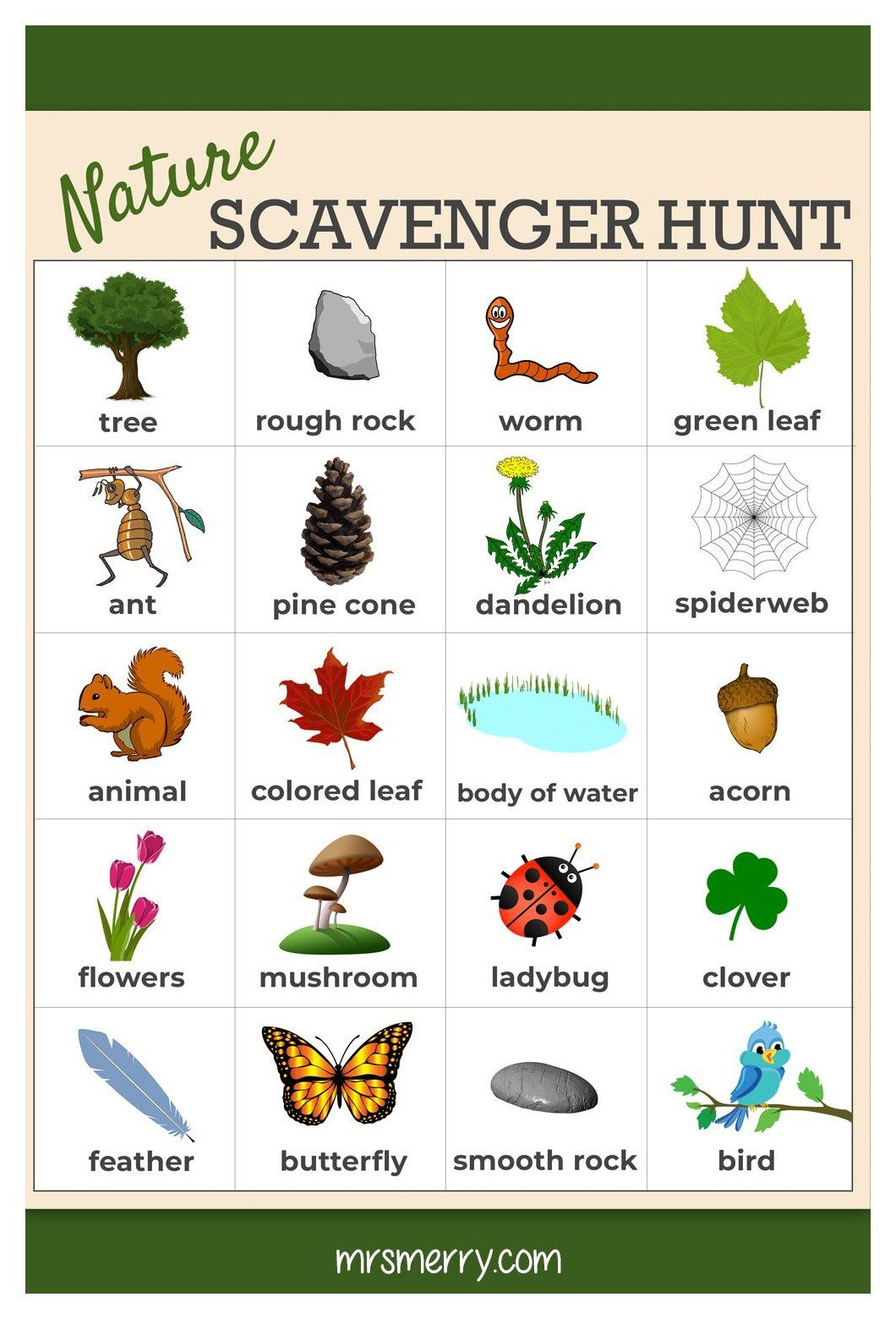 Free Nature Scavenger Hunt Printable Outdoor Scavenger