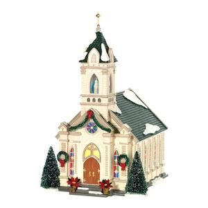 Our Lady Of Grace Church Department 56 Lighted Building Christmas Village Houses Snow Village Christmas Village Collections