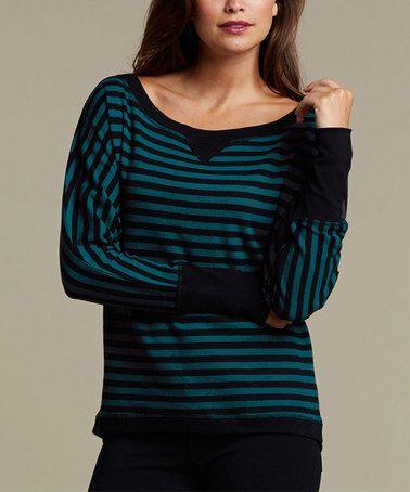 Look at this #zulilyfind! Black & Turquoise Elayne Top #zulilyfinds