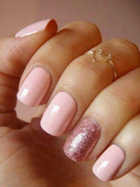 Sensationail Pink Chiffon And Rose Gold Glitter Glitter Accent Nails Pink Nails Nails