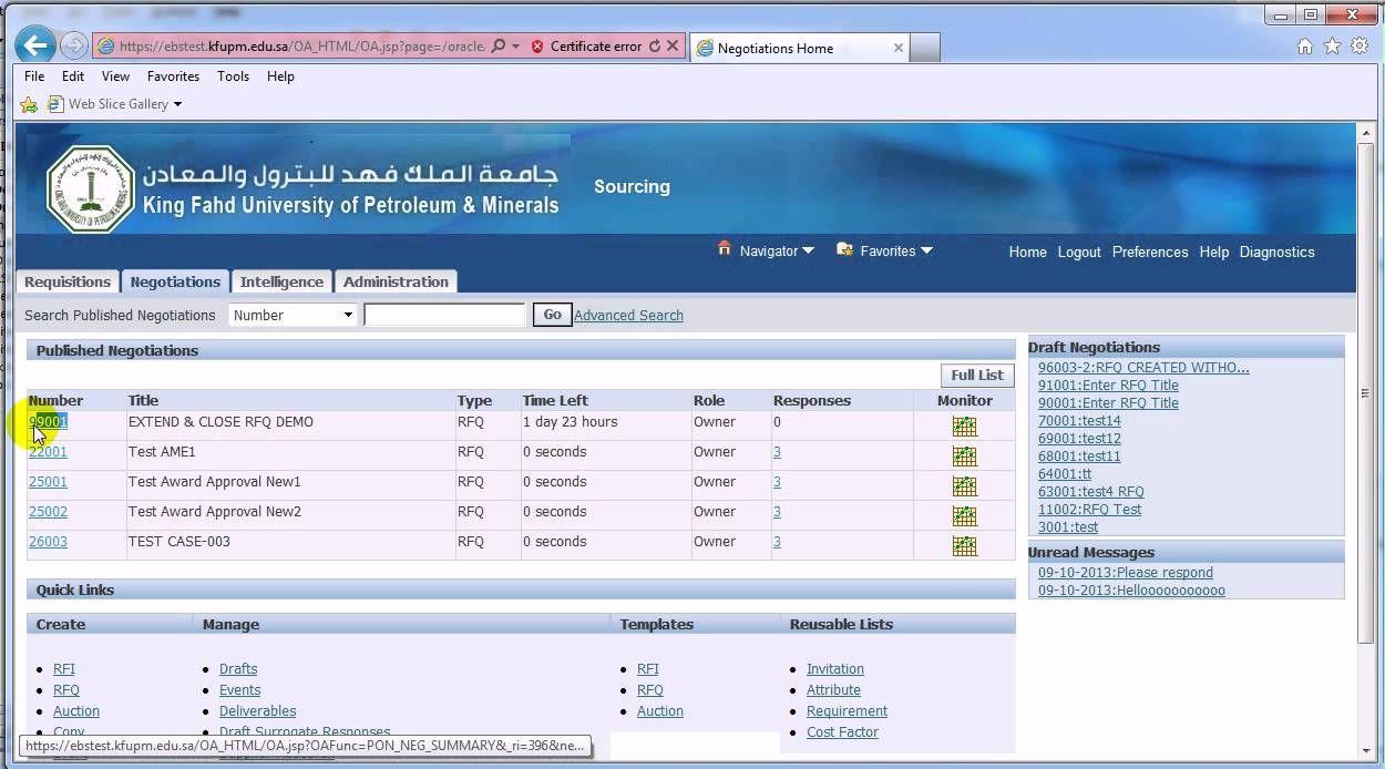Extend Close Rfq Oracle Sourcing Oracle King Fahd Views