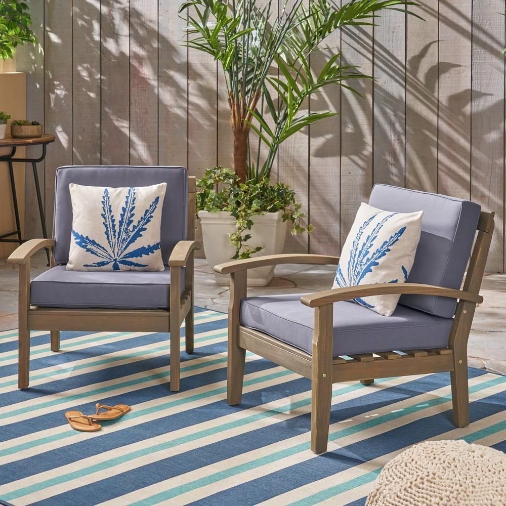 Noble House Caldwell Gray Slatted Wood Outdoor Lounge