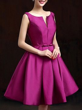 Purple Plunge Neck Bowknot Waist Lacing Back Prom Skater Dress | Choies
