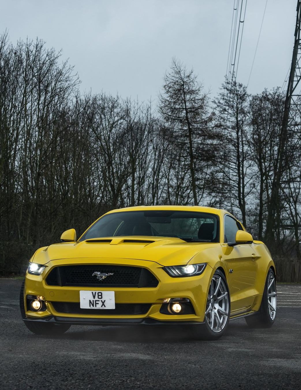 Yellow Ford Mustang Goes In Style With Custom Accessories And Awesome Cusom Wheels Photos By Velgen Ford Wheels With Images Ford Mustang