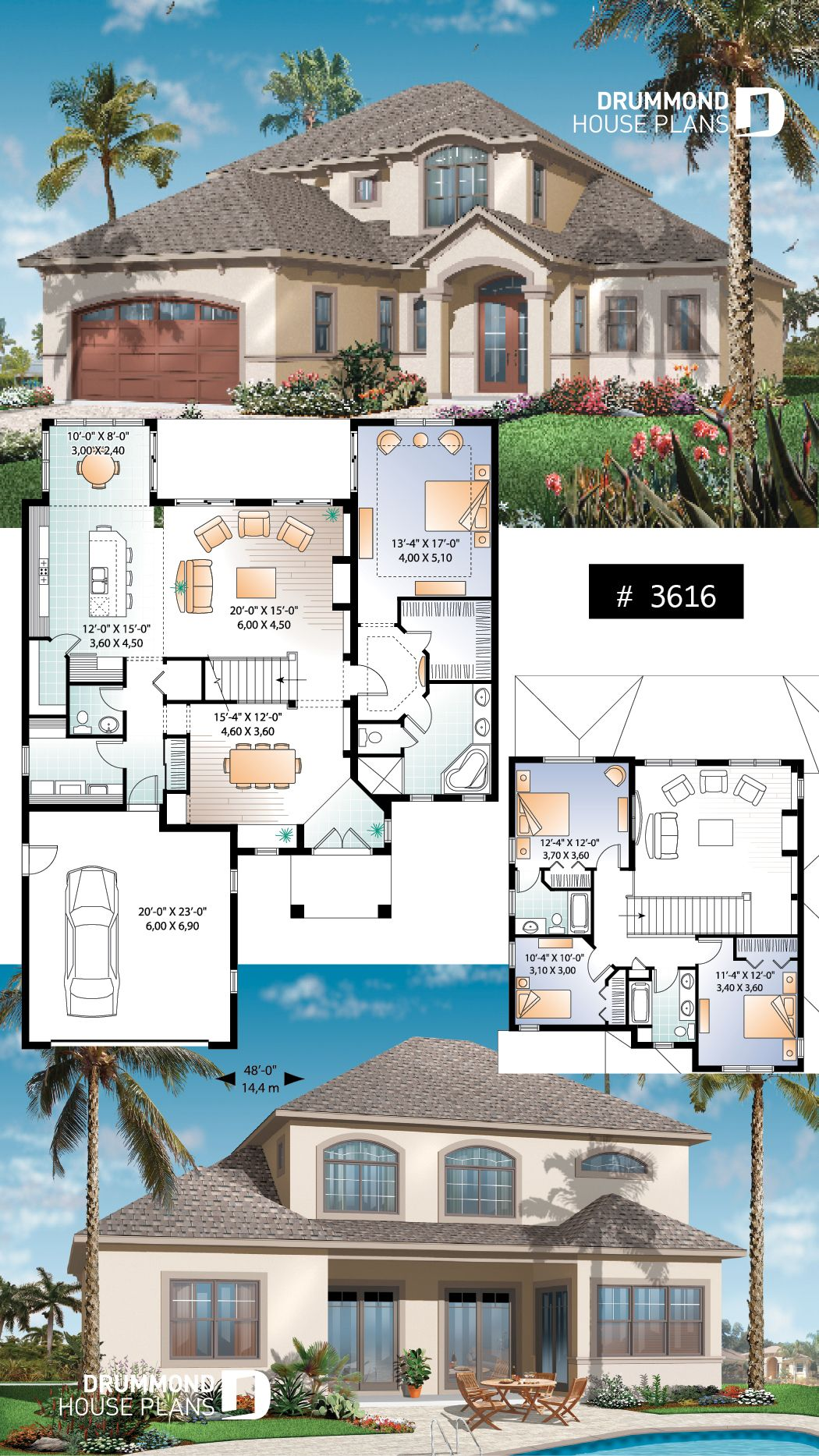 Discover The Plan 3616 Anniston Which Will Please You For Its 4 Bedrooms And For Its Mediterranean Styles Spanish Style Homes Mediterranean House Plans Spanish House