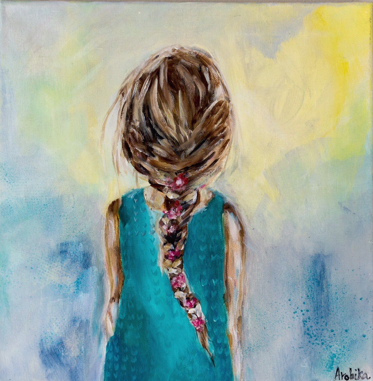 Excited to share this item from my #etsy shop: Girl Art Portrait- Book  shelf decor small Art- Gal… | Abstract art gallery, Blue abstract art, Small  canvas paintings