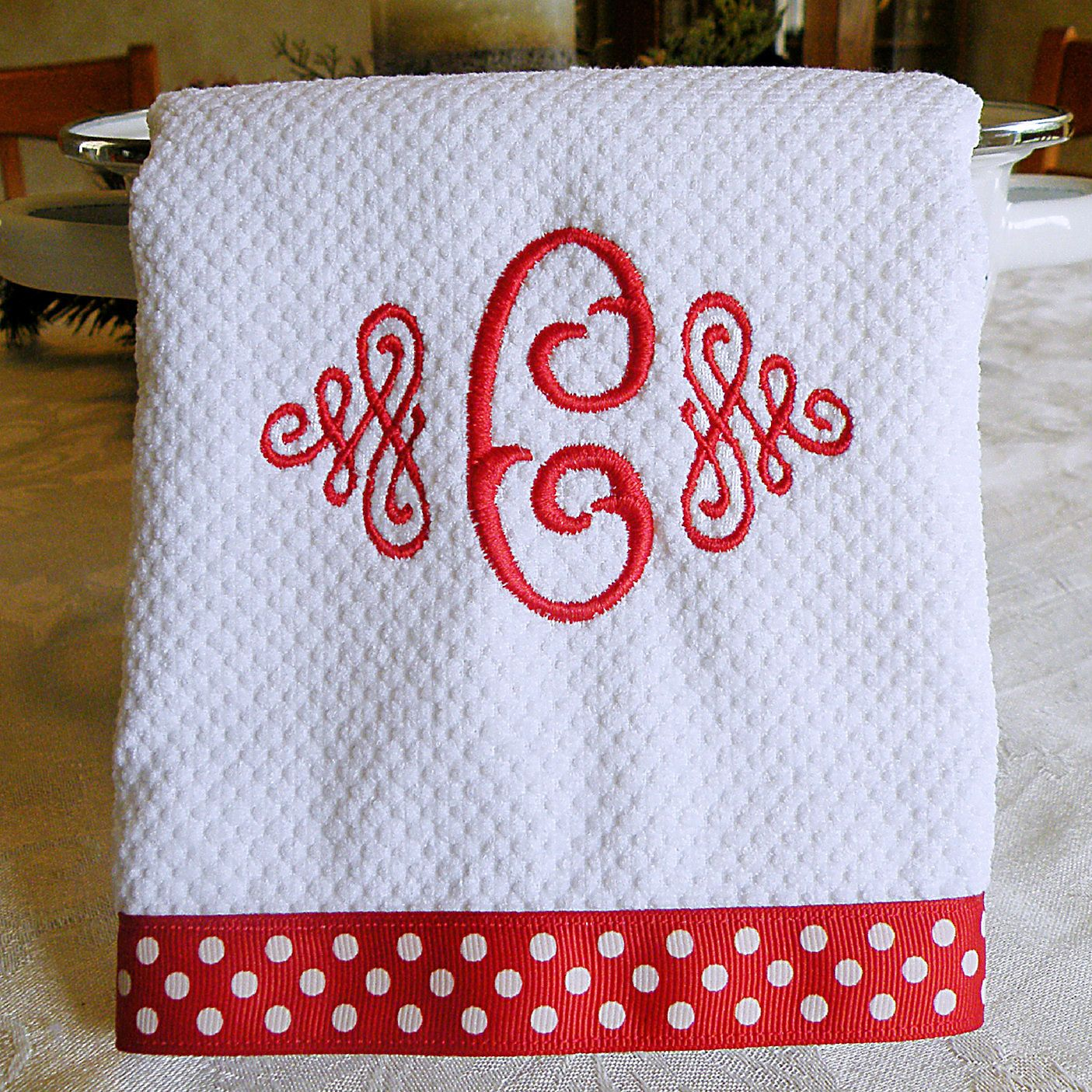 Monogrammed Kitchen Towel, Dish Towel, Red with White Dots ...