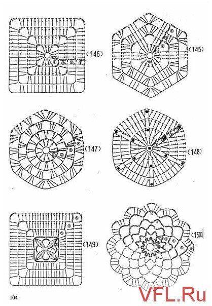 вязание крючком квадраты со схемами