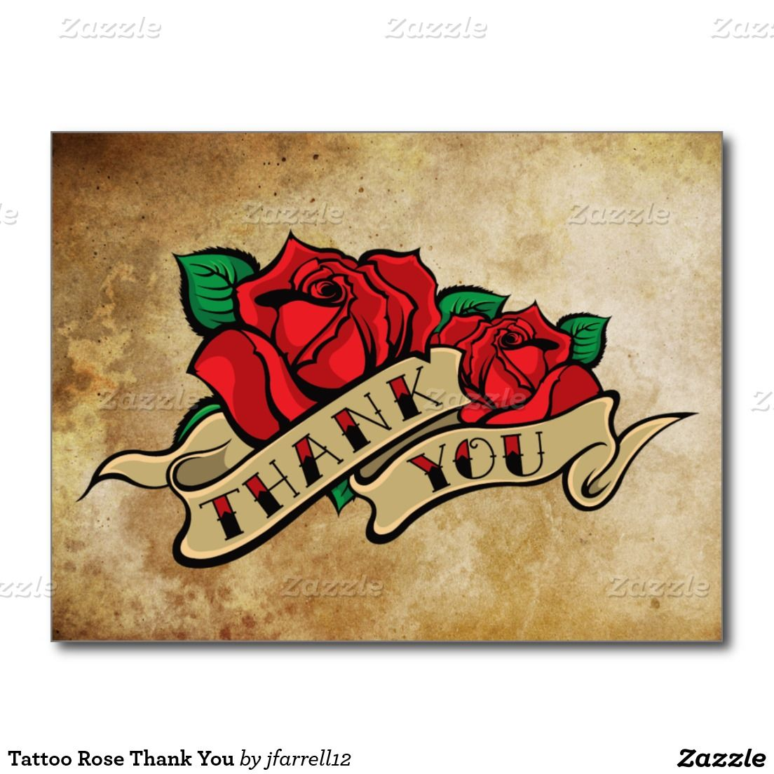 Tattoo Rose Thank You Postcard | Tattoo roses