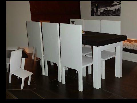 how to make a doll dining table set youtube video mini tutorials pinterest barbie m bel. Black Bedroom Furniture Sets. Home Design Ideas