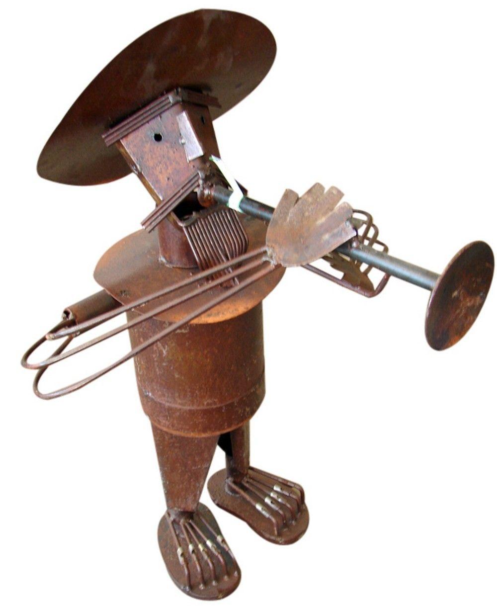Mariachi Trumpet Player   Mexican Figure   Rustic Metal ...