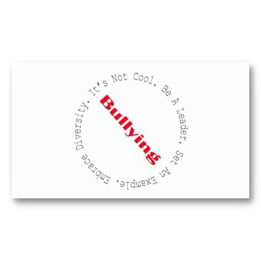 Stop Bullying Outline By Shirley Taylor Business Card Zazzle Com