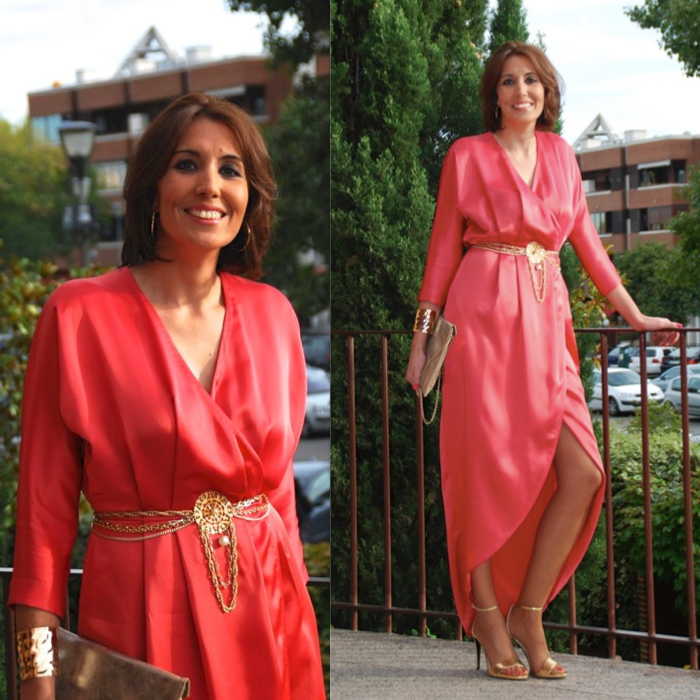Vestido Duyos coral - Look de invitada de boda - Dresseos Alquiler De  Vestidos cdae27988cb6