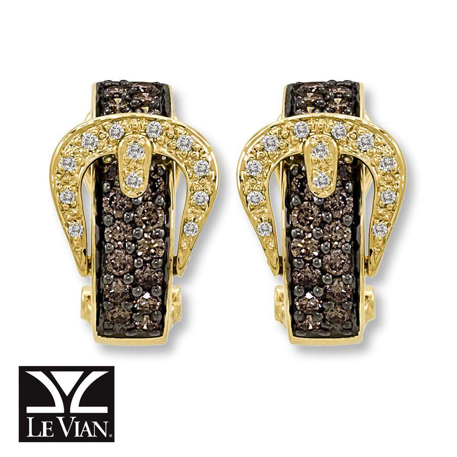 1ec93c7b2cd8c Kay - LeVian Chocolate Diamonds Belt Buckle Earrings 14K Honey Gold ...
