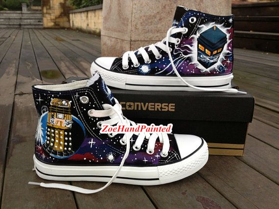 2d7182310951 Doctor Who Converse Doctor Who Shoes DW by Zoehandpaintedshoes ...