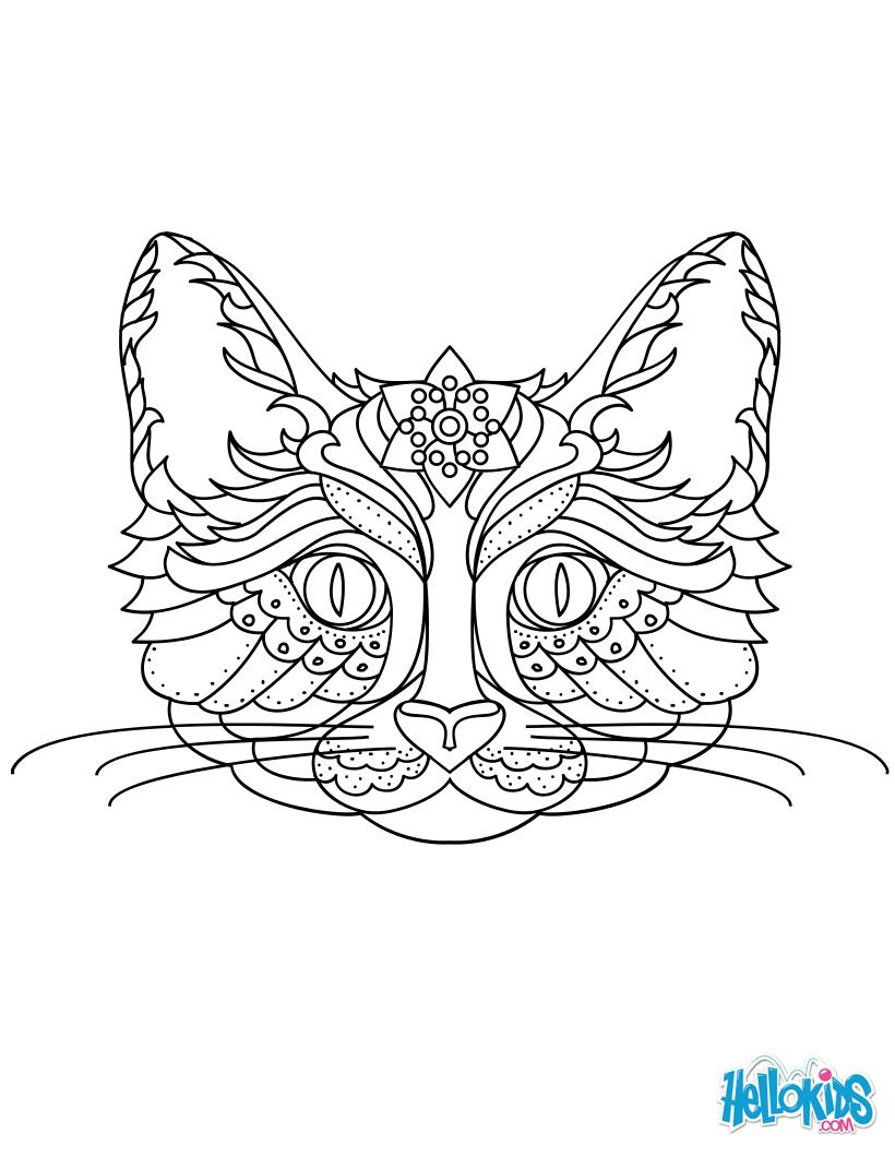 Un magnifique coloriage mandala chat original et gratuit de quoi occuper les enfants et - Coloriage magnifique ...