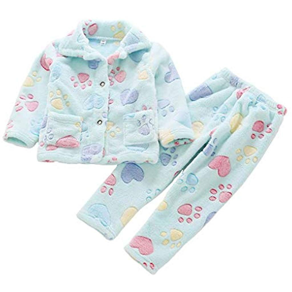 Suplove Children Pink Flannel Cute Long sleeve Pajamas Set for Girl