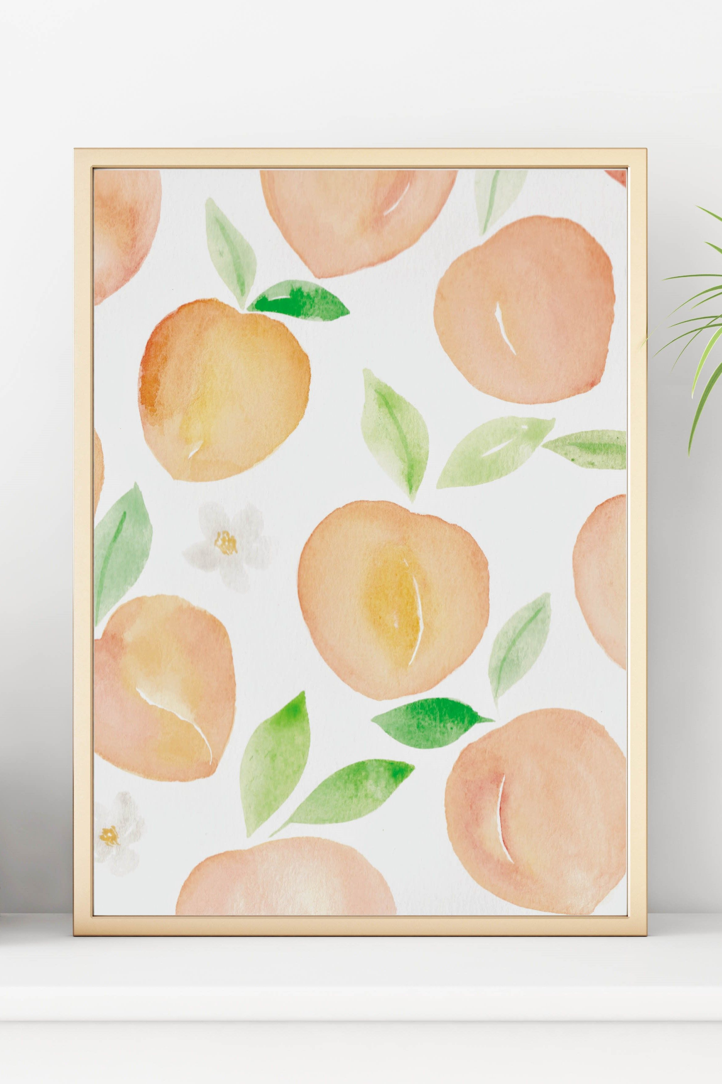 Summer Peach Print Kitchen Decor Printable Wall Art Watercolor