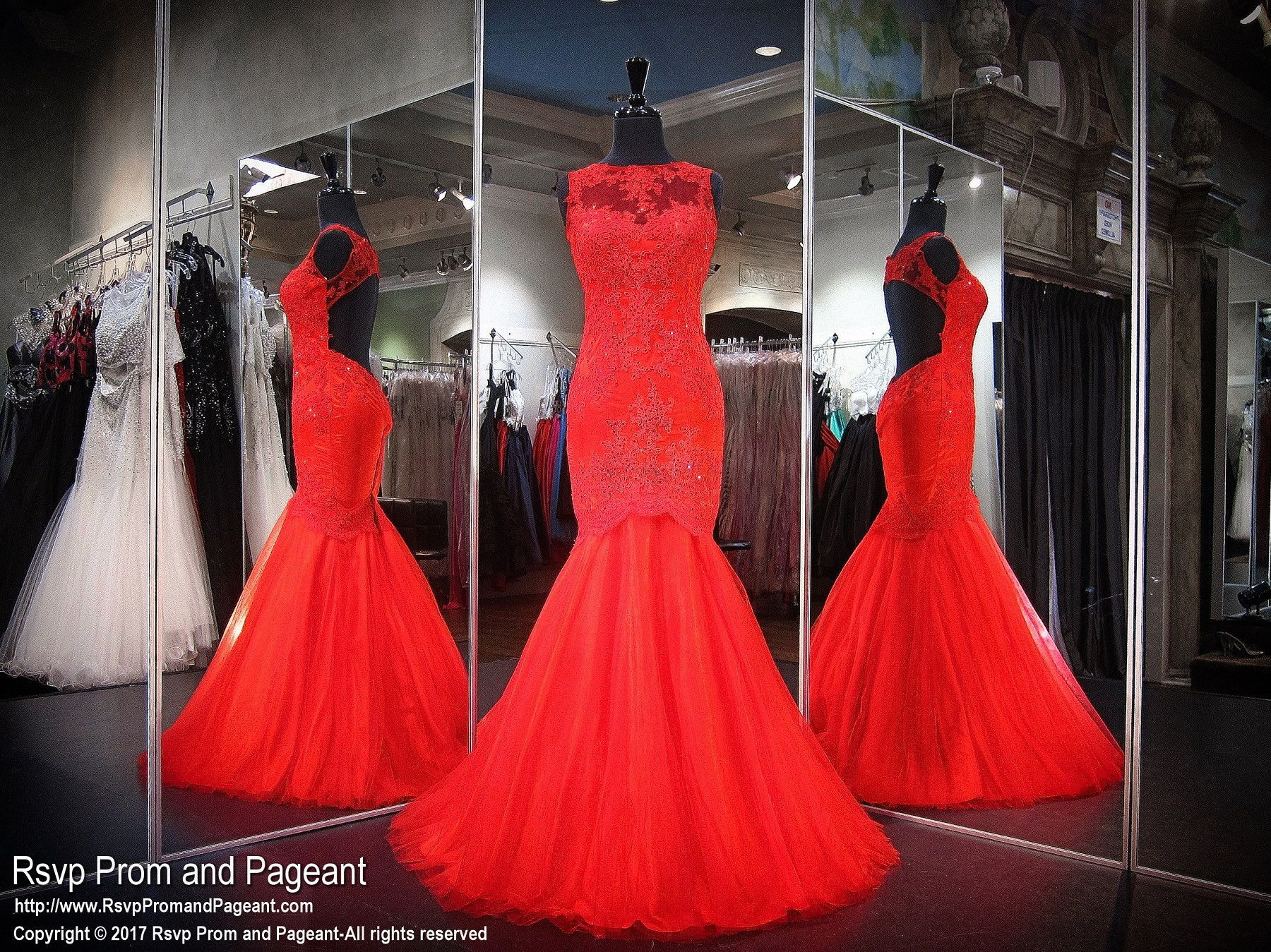 Red lace high neck mermaid prom dress products pinterest red