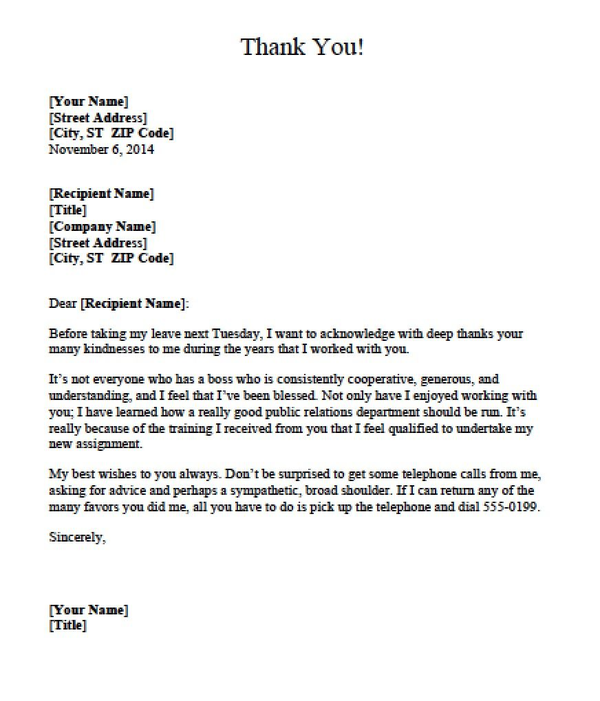 Download Boss Thank You Letter Templates Text Word Pdf Stand