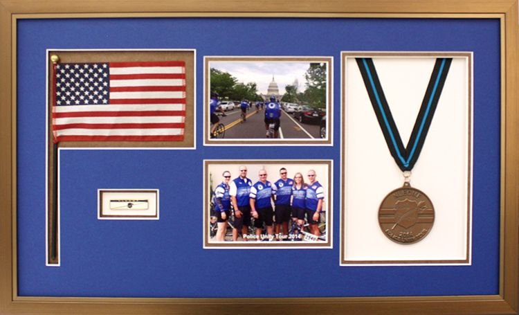 Police Unity Tour biking collage displayed in a gold frame