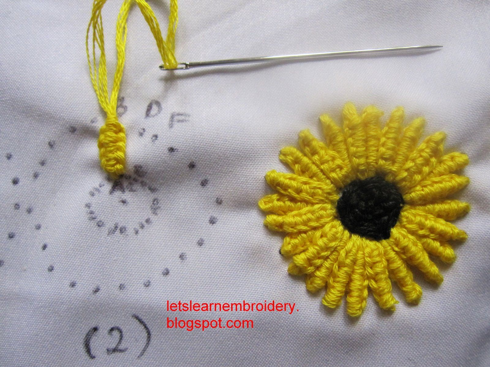 Double cast-on sunflower  ~~  This site has tons of information on embroidery.