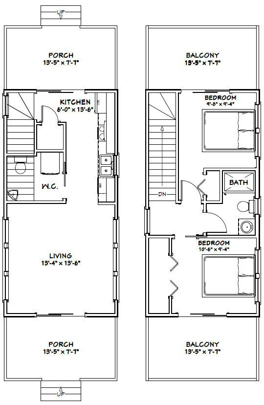 Tiny Home Designs: 14x28 Tiny House -- #14X28H6 -- 749 Sq Ft