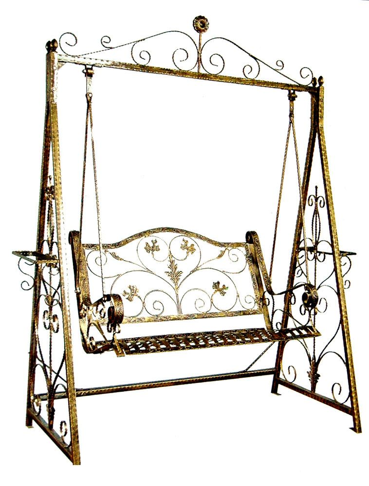 Swing Chair, Hand Crafted, Iron Garden Swing Chair In Gold Colour
