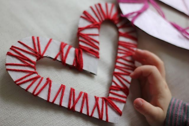 Yarn And Carboard Woven Hearts By The Imagination Tree Valentine Crafts Preschool Valentines Valentine Day Crafts